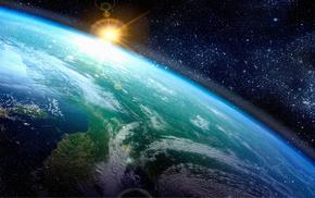 звезды, солнце, земля, атмосфера, Арт, космос