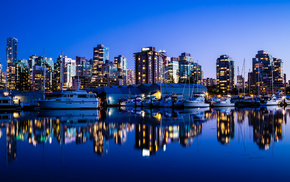 cities, Canada, city, night, evening