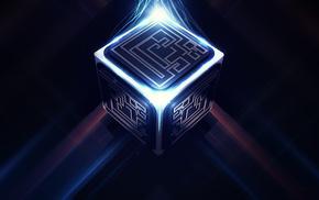 Куб, lacza, digital art, лабиринт, 3d