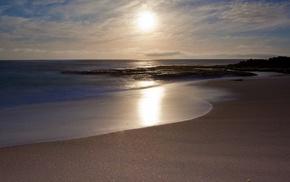 пляж, природа, закат, свет, песок, солнце море