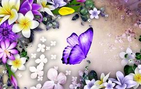flowers, butterfly, stunner