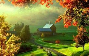 lodge, autumn, valley