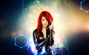 leather, redhead, curly hair, space, girl, stars