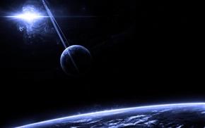 rings, nebula, planets, art, space