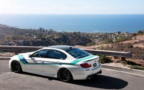 white, rear view, road, cars, BMW