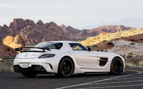 холмы, Mercedes-Benz SLS amg, прерия, пустыня, автомобили, спойлер