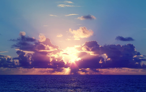 тучи, небо, природа, солнце, Закат, море