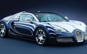 синий фон, аерографиия, гипер кар, вейрон, бело-синий, автомобили
