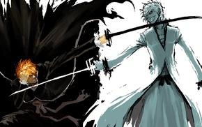 fighting, Bleach, Kurosaki Ichigo, anime, sketches, Hollow