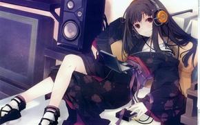 девушки из аниме, наушники, оригинальные персонажи, кимоно