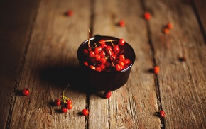 wooden surface, depth of field, cherries