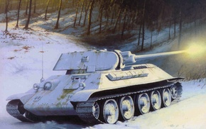 winter, tank, snow, art, gun