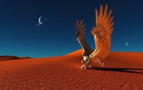 fantasy, angel, desert, wings, sand
