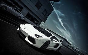 Lamborghini, white, cars, aventador