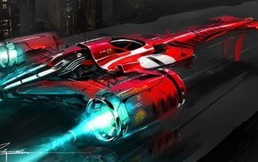 racing, Wipeout, concept art, video games, Ferrari