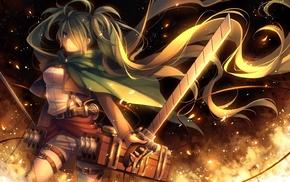 Вокалоид, девушки из аниме, длинные волосы, меч, огонь