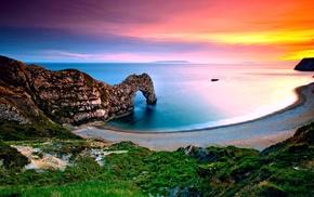 трава, закат, скала, море, пейзаж, природа