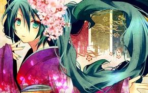 kimono, Hatsune Miku, blue hair, blue eyes, Vocaloid, anime girls