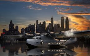 airplane, on, aircraft, art