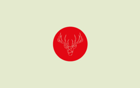 red, minimalism, deer, circle