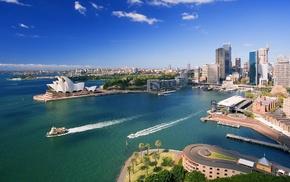 cityscape, boat, sky, Sydney Opera House, Sydney, Australia
