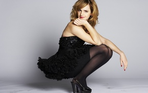 Emma Watson, blonde, girl, high heels, pantyhose, skirt