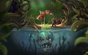 water, Ziggs, split view, fish, League of Legends