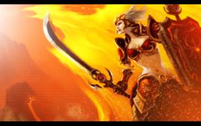 sword, League of Legends, Leona, bikini armor, shields, orange background