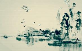 birds, lake, ink