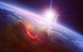 star, planet, space, art, satellite