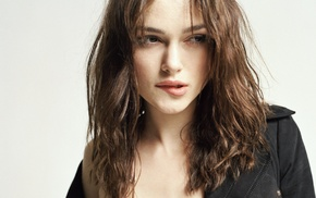 actress, biting lip, girl, curly hair, brown eyes, Keira Knightley