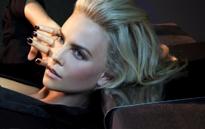 jewelry, face, black clothing, Charlize Theron, girl, painted nails