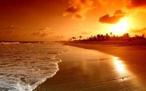 природа, закат, пляж, море, пейзаж