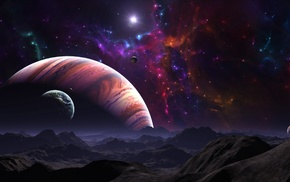 planet, space, fantasy art, artwork, nebula, landscape