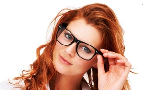 blue eyes, closeup, glasses, simple background, smiling, redhead