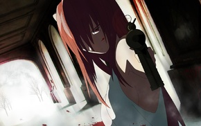 anime girls, gun, anime, pink hair, red eyes, Elfen Lied