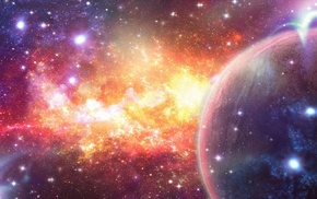 planet, art, nebula, abstraction, stars