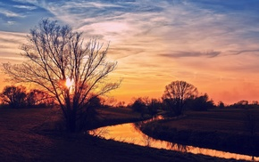sky, sunset, landscape, seasons, nature, river
