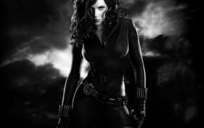 Black Widow, superheroines, Iron Man 2, monochrome, Scarlett Johansson