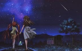 ночь, аниме, звезды
