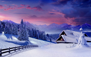 Christmas tree, winter, clouds, mountain, forest