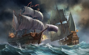 sea, waves, art, fantasy, storm
