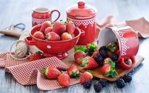 ежевика, ягоды, Клубника, вкусно, посуда, лето