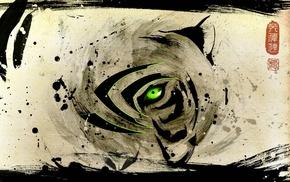 Nvidia, tiger, green, logo, video games, abstract