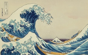classic art, painting, The Great Wave off Kanagawa, Japanese, waves