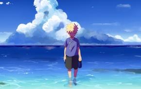 anime boys, Uzumaki Naruto, sea