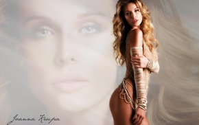 ropes, face, Joanna Krupa, gray eyes, tight clothing, curly hair