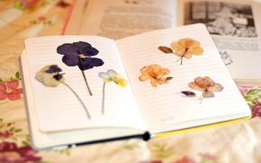 блокнот, тетрадка, цветочки, листья, цветы, красивые