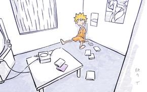 Узумаки Наруто, комната, простой фон, аниме