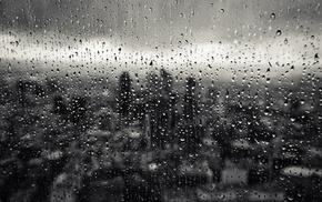 drops, rain, city, macro, window